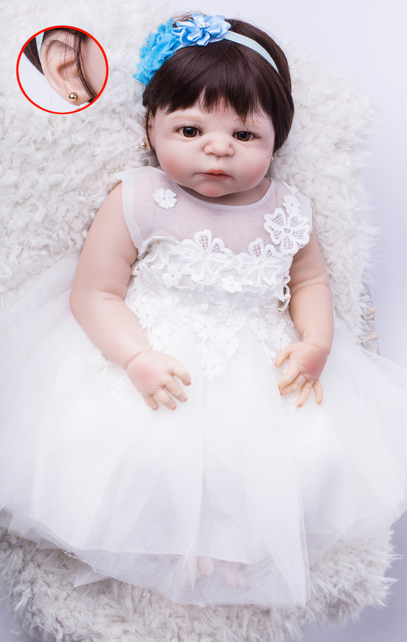 22 Full Silicone Bebe Reborn Girl Lifelike 55cm Vinyl Newborn Baby Toddler Doll Stud Earrings White Princess Dresses Waterproof22 Full Silicone Bebe Reborn Girl Lifelike 55cm Vinyl Newborn Baby Toddler Doll Stud Earrings White Princess Dresses Waterproof