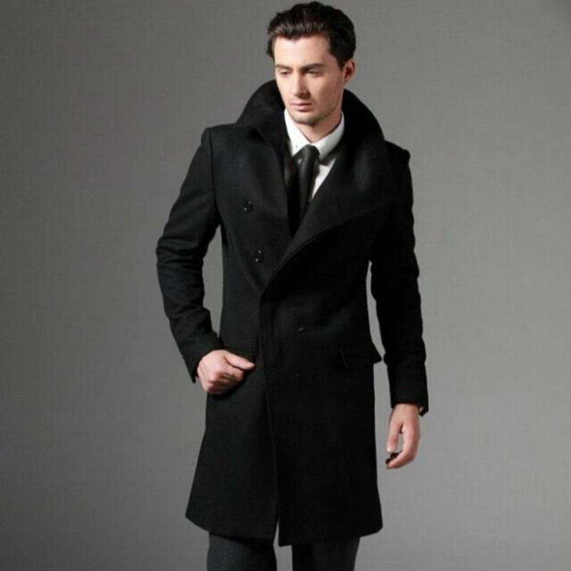 Autumn Winter Top Quality Mens Fashion Casual Single Breasted Long Trench Coat Jacket Woolen Overcoat British Style 2XL 3XL