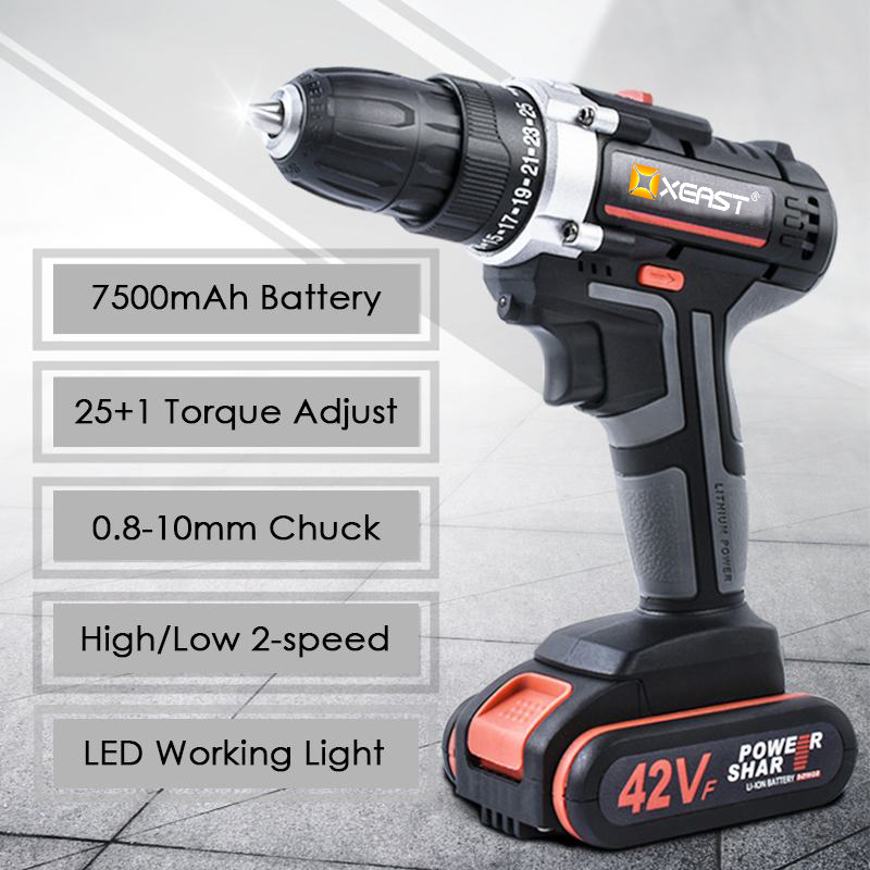 XEAST Electric Screwdriver Cordless Drill Impact Drill Power Driver DC Lithium Ion Battery 32N m 2