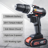 XEAST Electric Screwdriver Cordless Drill Impact Drill Power Driver DC Lithium Ion Battery 32N.m 2 Speed Power Tools