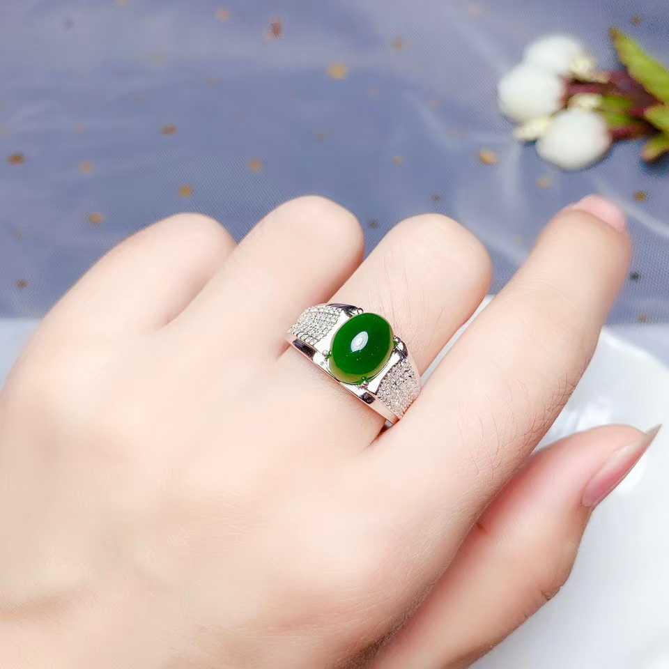 green Hetian jade ring for women with silver jewelry