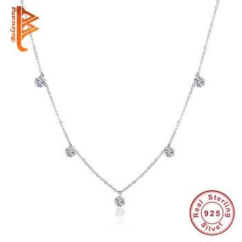 cb7b8bdb5c81 BELAWANG de lujo de plata 925 Coker colgante de diamantes de imitación  collar de cristal redondo de las mujeres Cadena de plata-de-joyería de plata