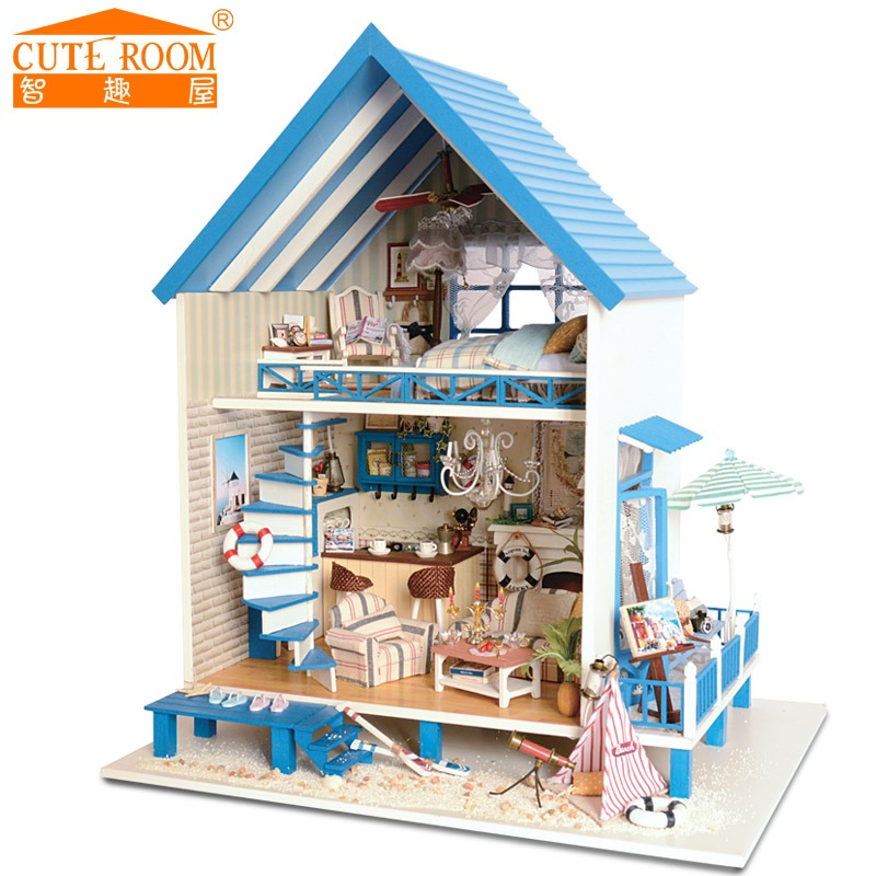 Assemble DIY Doll House Toy Wooden Miniatura Doll Houses Miniature Dollhouse toys With Furniture LED Lights Birthday Gift  A-018 cutebee doll house miniature diy dollhouse with furnitures wooden house toys for children birthday gift a 026