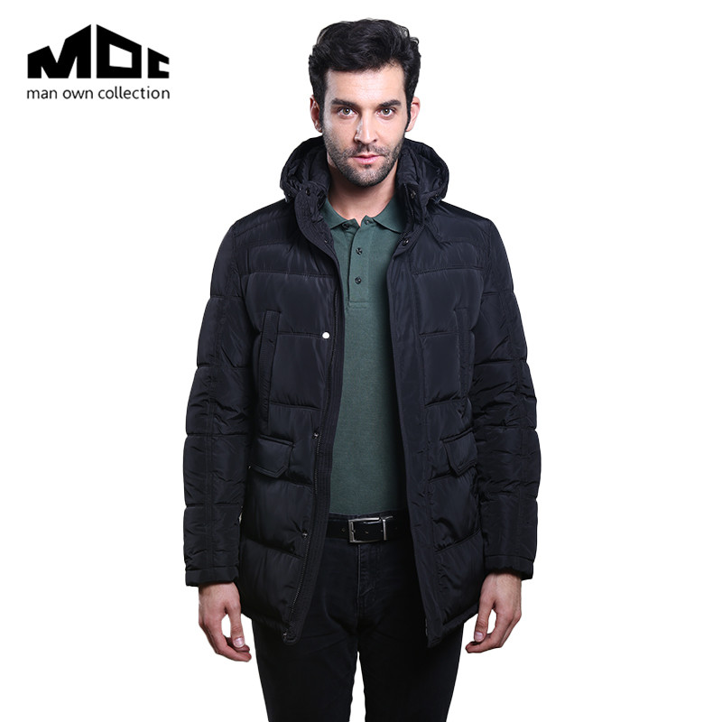 ФОТО Winter Man Jackets Solid Color Long Sleeve Hooded Neckline Thicken Warming Clothing Male Pockets Cotton-Padded Coats And Jacket