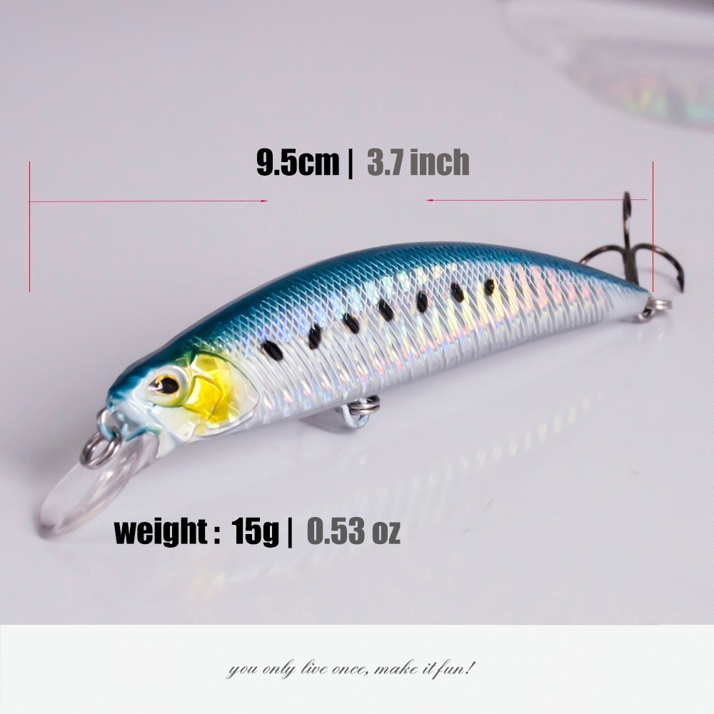 Image 2 - 2018 New Crankbait Wobblers Hard Bait 9.5cm/15g Fishing Lures Minnow For Bass Pike Perch Camping Fake Isca Artificial Jerkbait-in Fishing Lures from Sports & Entertainment