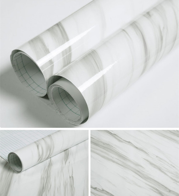 60*200cm White Look Marble Gloss Self Adhesive Furniture Vinyl Decor Film  Counter Kitchen Home
