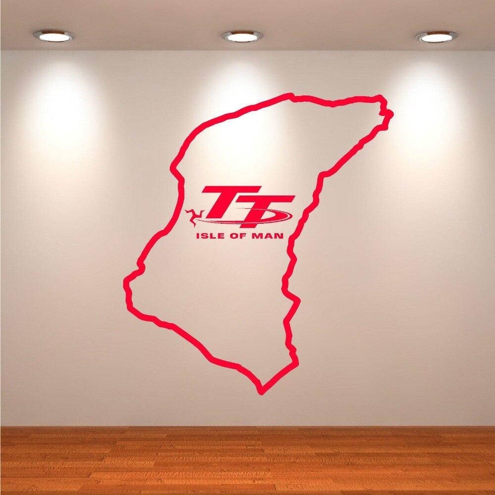 Isle Of Man TT Track Wall Sticker Bedroom Living Room Large Racing Moto Game Wall Decal Kids Room Vinyl Home Decor Art Mural (2)