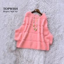 Натуральный норковый кашемировый пуловер для женщин, высокое качество, Заводская OEM розетка, опт, розничная торговля, настоящий свитер кашемир с норкой TFP897