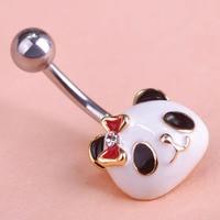 Lot Selling Kawaii Cute Panda Body Piercings Brand Enamel Belly Percing Button Rings Collares Bijuterias Feminino