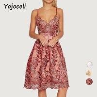 Yojoceli V Neck Emboridery Lace Party Brand Dress Women Sexy Floral Club Formal Strap White Dress