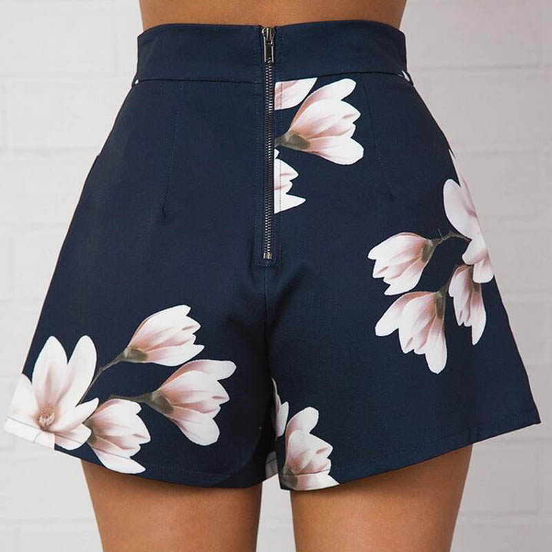 Newly Summer Women Sexy   Shorts   High Waist Zipped Flowers Printing Girls Casual Wide Leg   Short   Trouser