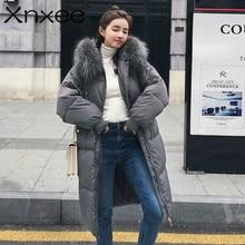 New Women Winter Long Coat Fashion Female Big Fur Collar Parkas Jacket Thick Warm Elegant  Slim Wadded
