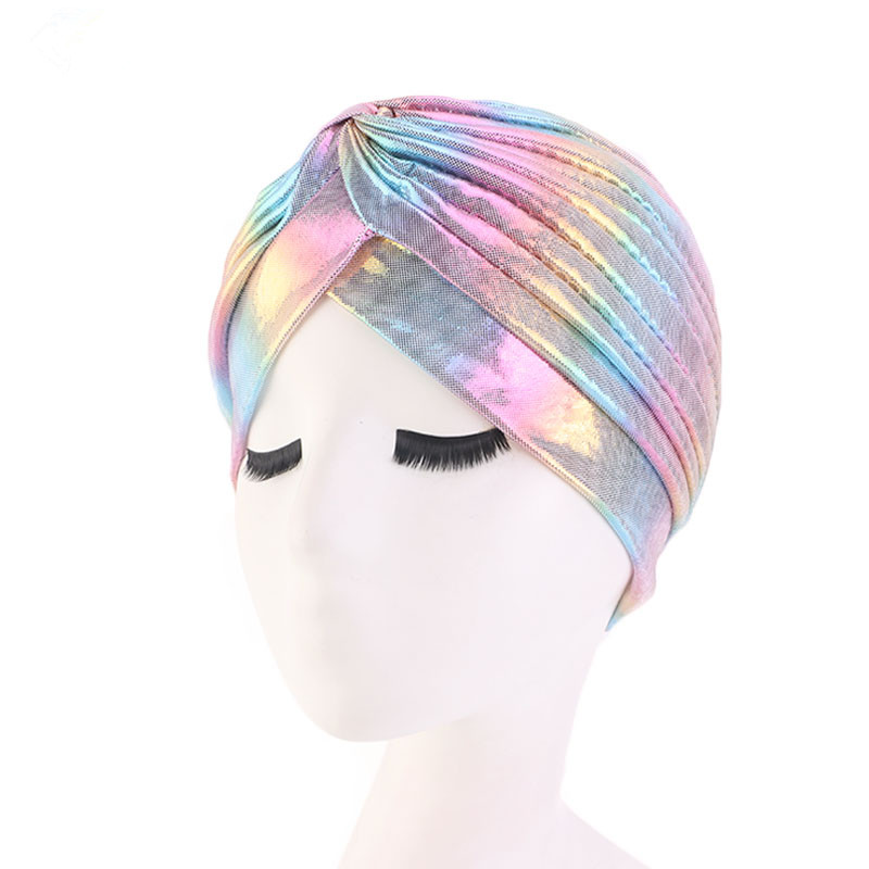 Image 4 - Helisopus Laser Silky Ruffle Turban for Women Muslim India Cap  Headscarf Chemo Alopecia Hair Loss Hat Bonnet Hair AccessoriesWomens  Hair Accessories