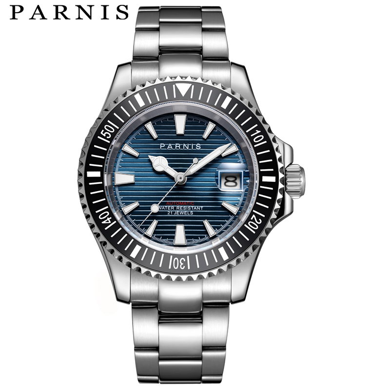 Parnis Automatic Mechanical Watches Men Diver 21 Jewel Miyota8215 Waterproof 5bar Sapphire Crystal Metal Strap Relogio Masculino