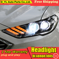 DY_L Car Styling For Ford Mondeo 2017 Headlights Fusion LED Headlight DRL Hid Bi Xenon Beam Lens Flash Straight Yellow Turning