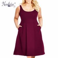 Nemidor 2017 Summer New Arrival Solid O Neck Sleeveless Dress 7XL 8XL Party Swing Plus Size