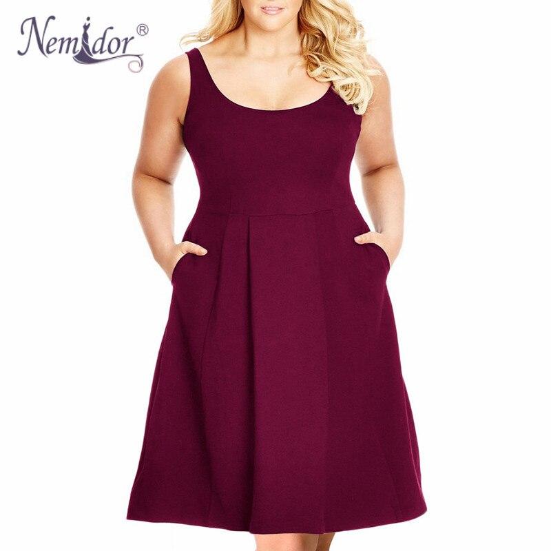 Nemidor Summer New Arrival Solid O neck Sleeveless Dress XL XL Party