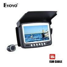 """Eyoyo 15 м инфракрасный рыбоискатель подводная камера 1000TVL подледный лов мини-камера видеозапись DVR 4."""" монитор 8 ИК светодиоды солнцезащитный козырек"""