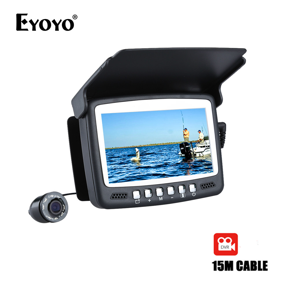 "Eyoyo Original 15M 4.3"" Underwater 1000TVL Ice Fishing Camera Fish Finder VIdeo Recording DVR 8 LED Night Vision Camera Sunvisor"