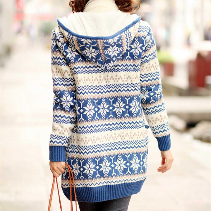 Женские Толстые флисовые трикотажные с капюшоном кардиганы Снежинка вязаные свитера пальто тонкий длинный рукав утолщение бархат зимние топы