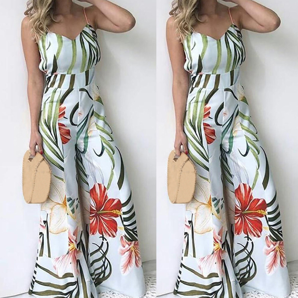 2020 Women Summer Sleeveless V-neck Printed Strappy Casual Long Playsuit Party Jumpsuit Monos Largos Mujer Pantalon Largo 50