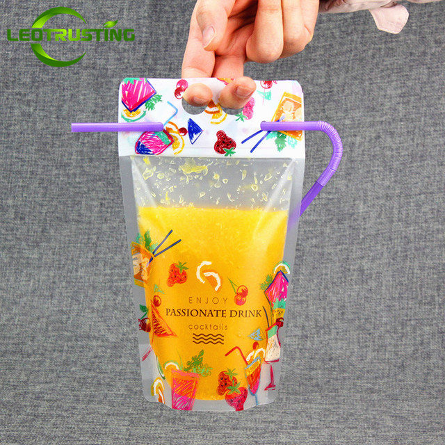 Leotrusting 50pcs 450 500ml Frosted Plastic Drinking Packaging Pouch Printed Beverage Juice Bag With Free