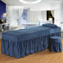 One Piece Soft Beauty Salon Bed Skirt Crystal Velvet Solid Color Bed Spread for Hairdresser Esthetic Salon 70*190cm Blue MZR1(China)
