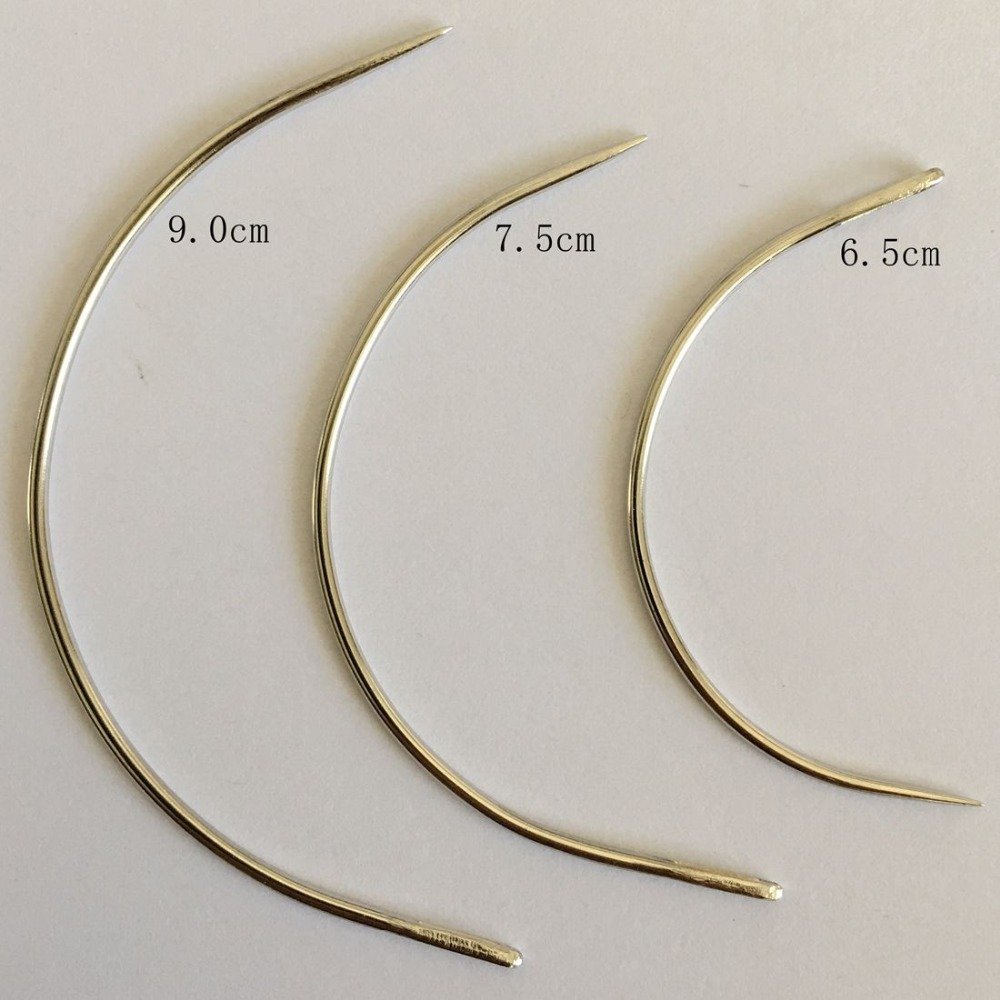 25 Pcs/bag Large 9cm C Shape Curved Needles Wig Making Crochet Braids Ventilating Hair Weaving Needle