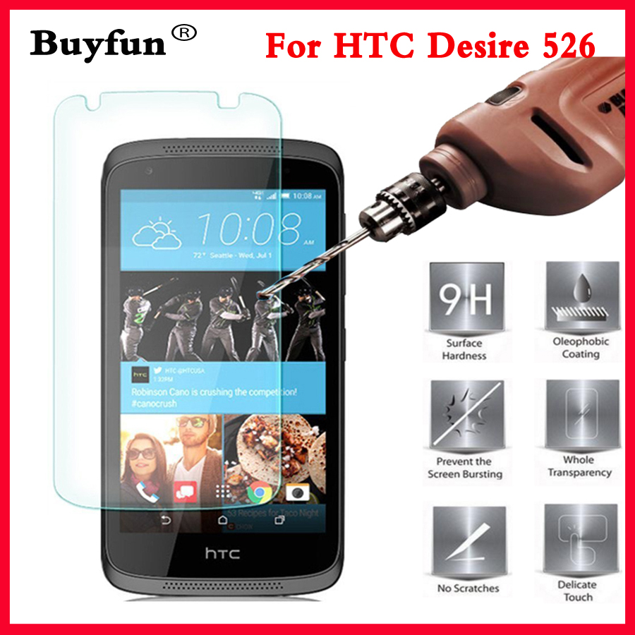 For Htc Desire 526 4G Lte Tempered glass Film 0.26mm 2.5 9h HD Clear Safety Protective Screen Protector on 526G+ Dual Sim D526h