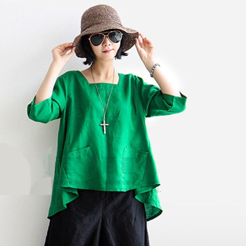 النساء البلوزات 2019 خمر فضفاض الكتان القطن قميص جديد السيدات السيدات الرجعية طوق مربع الأدبية الأحمر blusas أنثى لطيف القمم