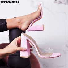 TINGHON  New Summer Fashion Sexy Wear Transparent Shallow Open Top Women Slippers For Outside Ladies Slipper Size35-42