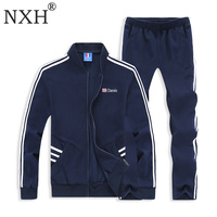 NXH Cotton Men Set Embroidery Men Sweatsuits Plus Size Tracksuit 6XL 7XL 8XL Long Jogger Set 2pcs Sport Set Men Sweat Suit