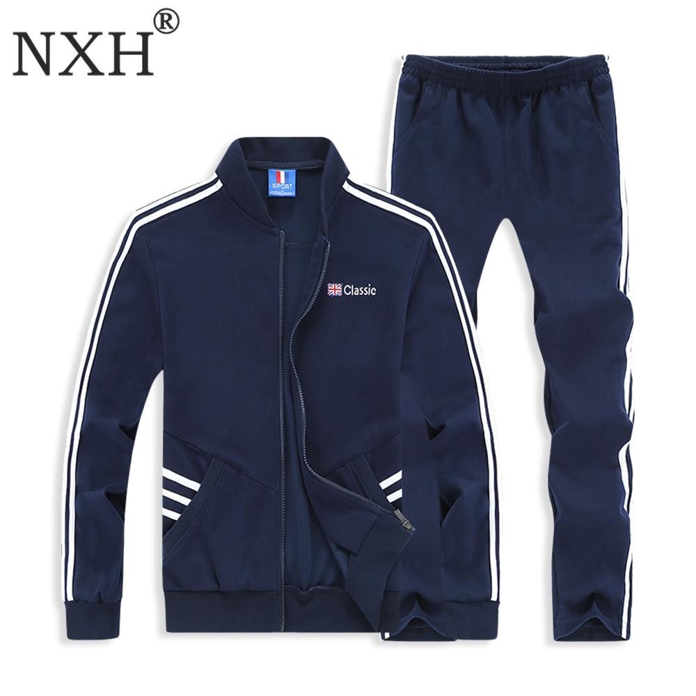 NXH coton hommes ensemble broderie hommes sweats grande taille survêtement 6XL 7XL 8XL Long survêtement ensemble 2 pièces Sport ensemble hommes Sweat costume