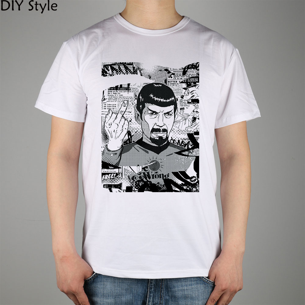 ANGRY SPOCK Star Trek T-shirt cotton Lycra top 10845 Fashion Brand t shirt men new DIY Style high quality