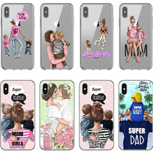 IMIDO Fashion Black Brown Hair Baby Mom Girl Queen Case For iPhone X XS Max XR 8 7 6 6s Plus 5 5s SE Silicone Woman Phone Cover