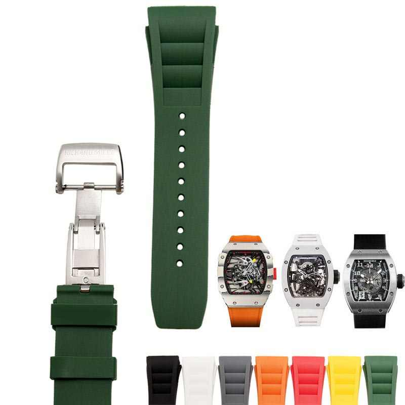 7373892951c 25mm Hight quality Soft Silicone Rubber Watchband For Richard RM50-03 01 Watch  Strap