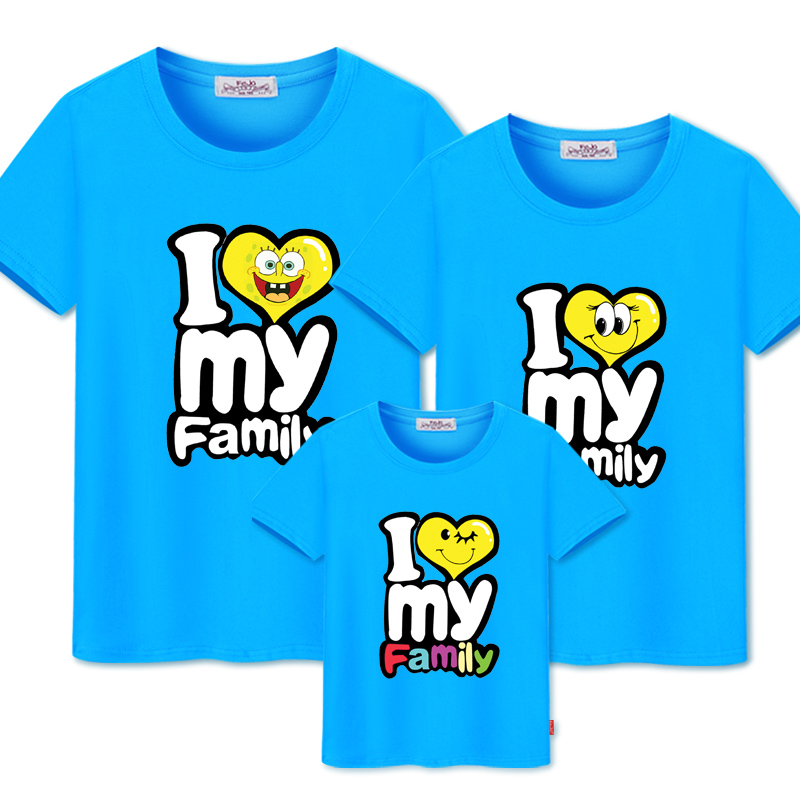 Family Matching Outfits Print T-shirt Mommy And Me Clothes Family Look Cotton T-shirts Father And Son Outfits Clothing