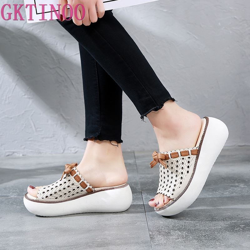 GKTINOO 2019 Genuine Leather Women Slippers Platform Casual Bow Retro Women Sippers Open Toe Sandals Hollow Out Handmade Slipper