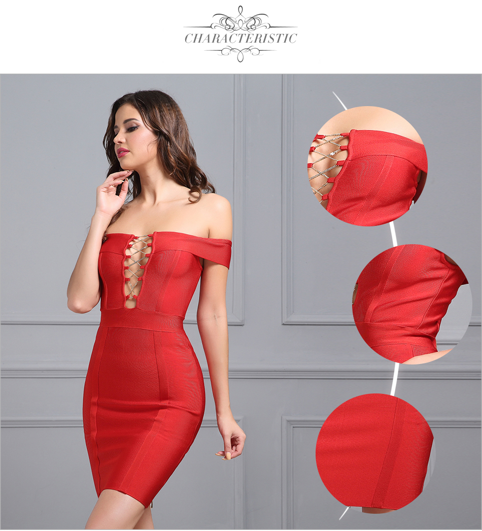 Vestidos 2017 summer dress women runway Bandage dress Slash-neck Cut out Cross Chain short sleeve Celebrity Red Bodycon Dress 4