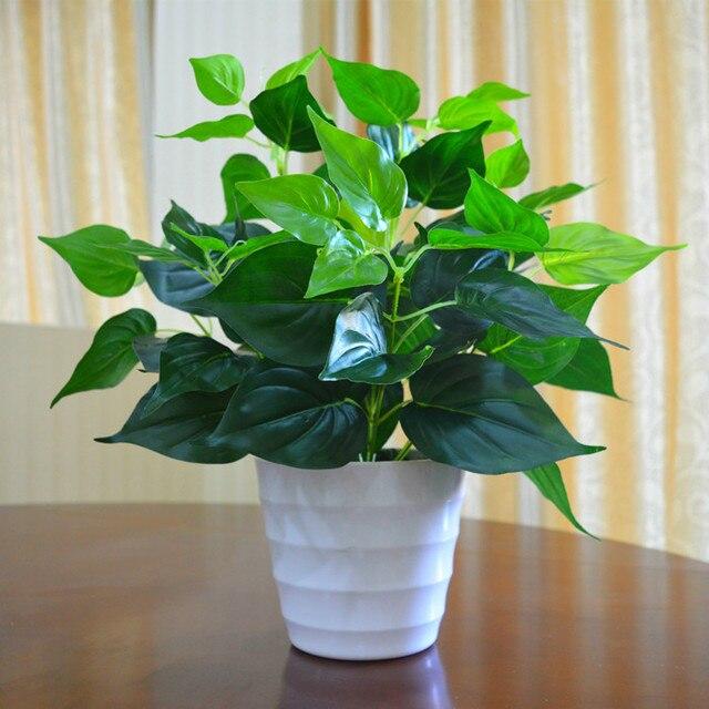 Amenmo Jardim Decoração Folhas Verdes Da Planta Vida Como Epipremnum Aureum Vasos De Flores Simulação Artificial