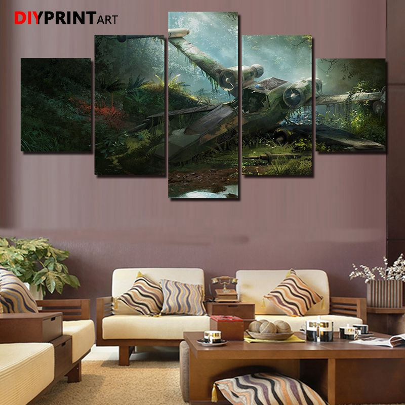 Game Paintings Crashed Plane StarWars 5 Panel Modern Wall Art Painting Canvas Wall Pictures for Living Room image