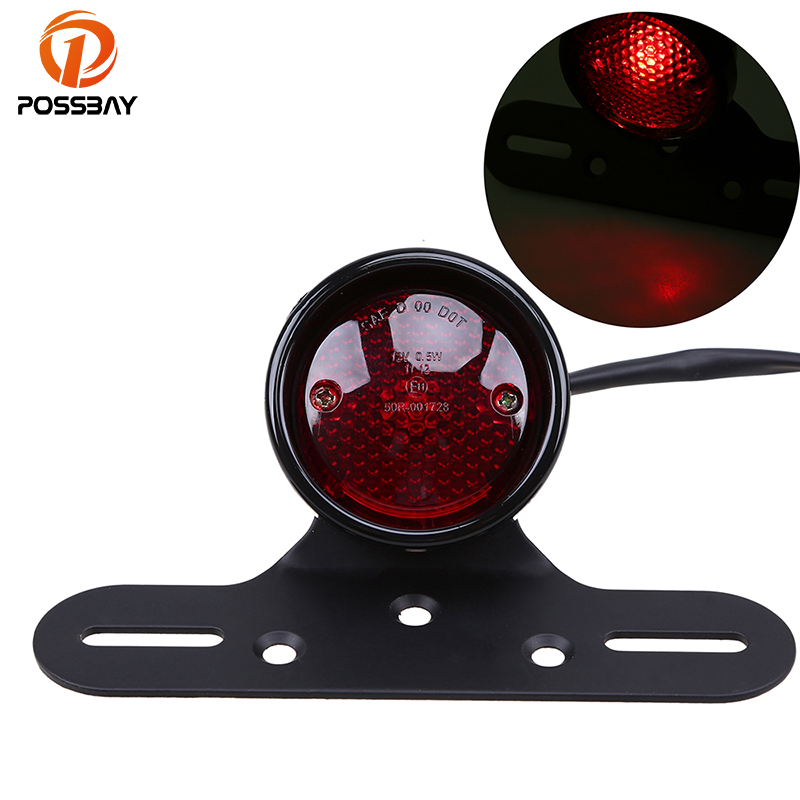 POSSBAY Motorcycle Taillights Scooter Rear Stop Tail Light With Aluminum License Bracket Universal For Harley Yamaha Suzuki Lamp