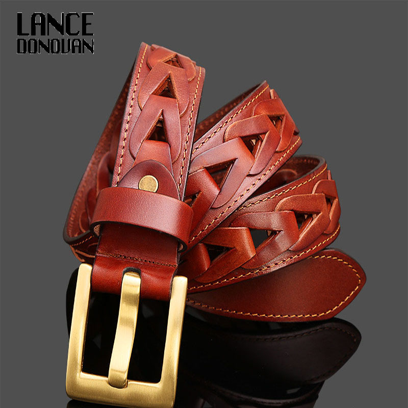 Copper buckle New 2016 Good Quality Cowskin Genuine Luxury Leather Men Belts Real Cow skin straps SIZE 105 125cm
