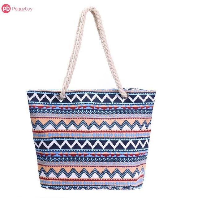 Ethnic Printed Women Canvas Shopping Beach Totes Big Capacity Zipper Casual  Travel Shoulder Handbags Bolsa Feminina 801a20473417