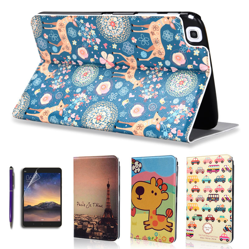 Fashion Painted Flip PU Leather For Samsung Galaxy Tab 3 T310 T311 T315 8.0 inch Tablet Smart Case Cover + Stylus + Film tx flip pu leather with soft tpu back cover card holder case for samsung galaxy tab 3 8 0 inch t310 t311 t315 tablet cases