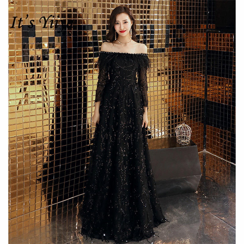 It's YiiYa Evening Dress 2019 Crystal Feathered Boat Neck Sequines Tulle Women Party Dress Long Robe De Soiree Plus Size E507