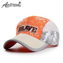 [AETRENDS] Храбрый буквы вышивка шапки для детей бейсболки мальчики дети З-1319