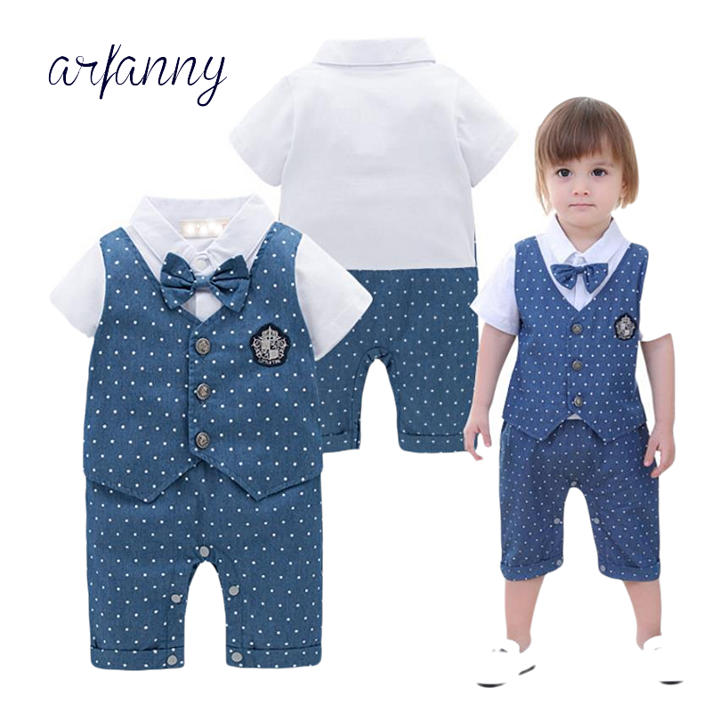 Baby boy clothes Handsome Summer 0-24M Newborn Baby Boys Gentleman party Single Breasted Short Sleeve Onesies Climbing