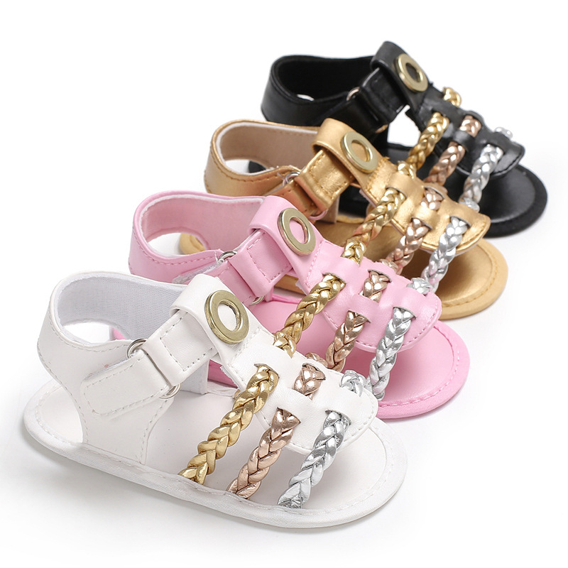 HONGTEYA glitter bling Newdesign Baby Girl shoes Hook & Loop Flat Heel Summer soft sole Sandals For (0-18) Months Baby