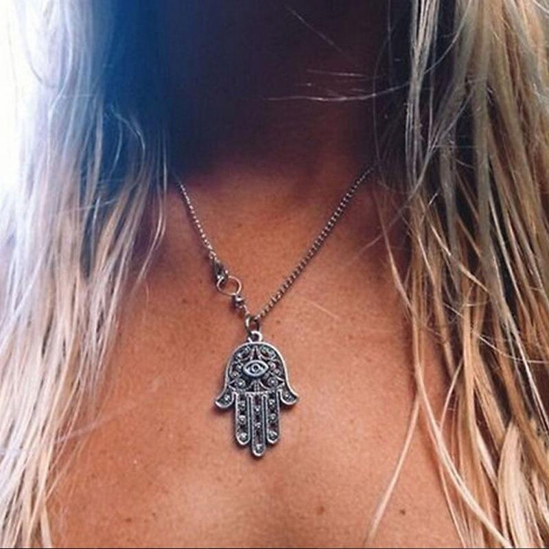 Fashion good luck protection hamsa symbol fatima hand pendant fashion good luck protection hamsa symbol fatima hand pendant chain necklace for women lady girl in pendant necklaces from jewelry accessories on mozeypictures Gallery